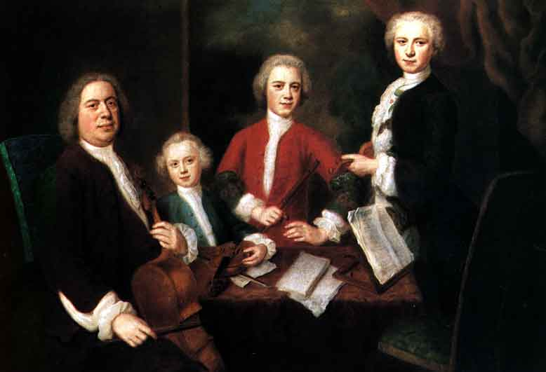 Johann Sebastian Bach and three sons (image)