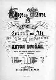 Dvorak's Moravian Duets - first edition (1878)