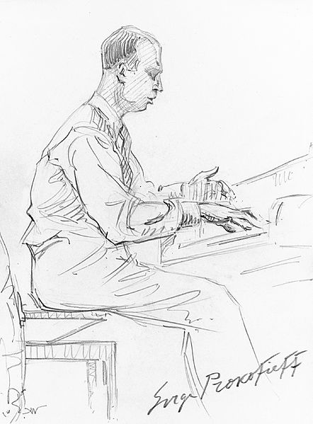 Pencil drawing of Prokofiev, 1936 (image)