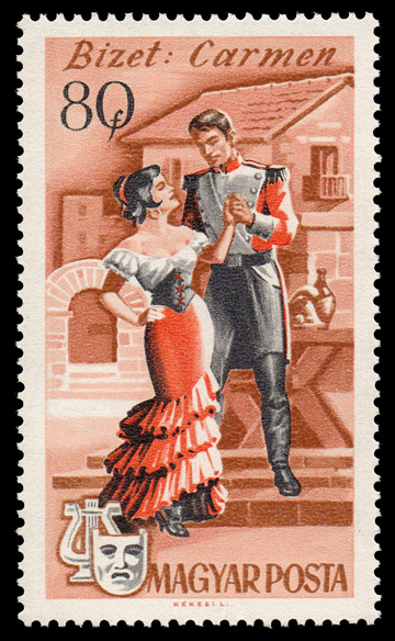 Bizet's Carmen on 1967 Hungary stamp (image)