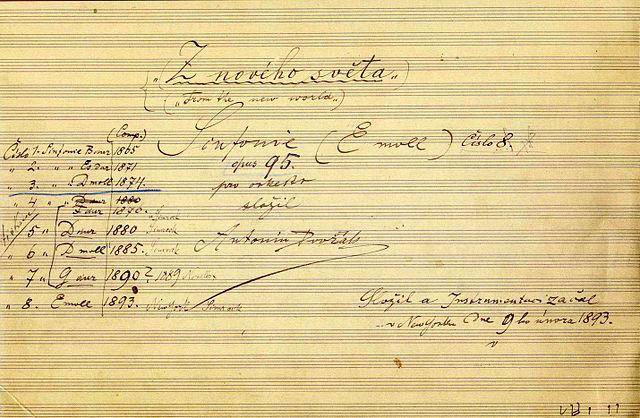 Dvorak's 9th Symphony - manuscript (image)