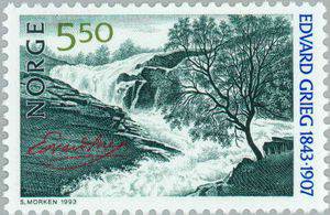 Edvard Grieg - 1993 Norway stamp (image)