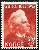 Edvard Grieg - 1943 Norway stamp (image)
