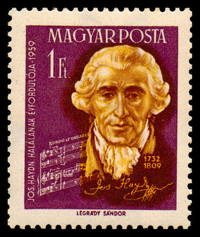 Haydn postage stamp, Hungary, 1959