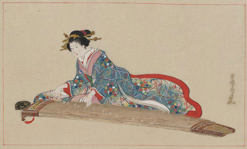 Japanese lady plays koto (image)