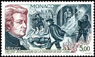 Mozart's Don Juan shown on a Monaco stamp (image)