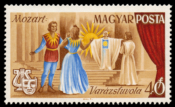Mozart's The Magic Flute as shown on 1967 Hungary stamp (image)