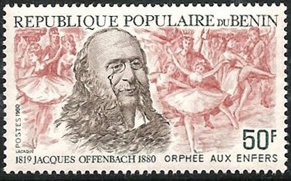 Offenbach and Orpheus in the Underworld - Benin stamp, 1980 (image)