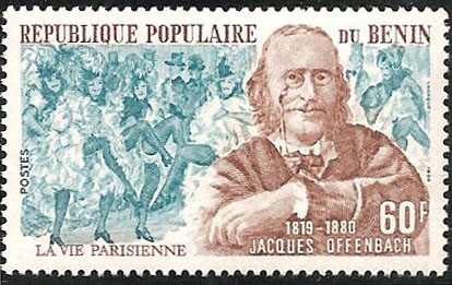 Orpheus and La Vie parisienne - Benin stamp, 1981 (image)