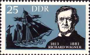 Senta throws herself from cliff - Wagner's The Flying Dutchman - East German stamp (image)