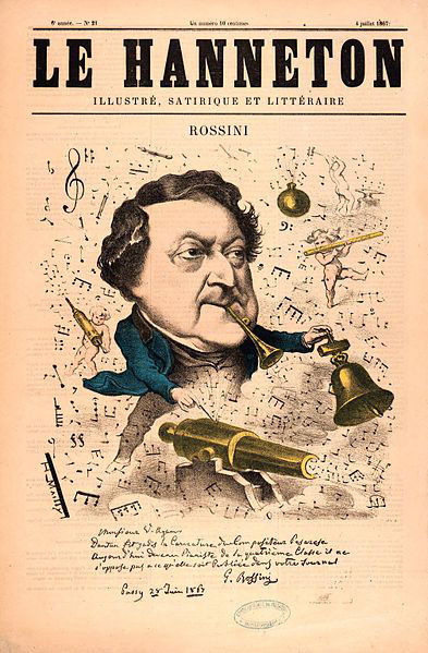 Rossini caricature in Le Hanneton, 1867 (image)