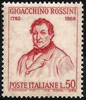 Rossini on 1968 stamp from Italy (image)