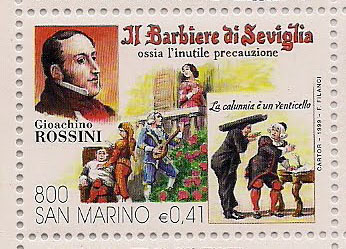 Rossini, Barber of Seville and Figaro on 1999 San Marino stamp (image)
