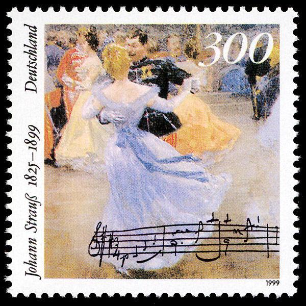 Johann Strauss II ball on 1999 German stamp (image)