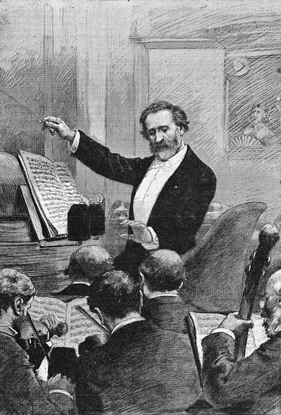 Verdi conducting Aida in Paris, 1880 (image)