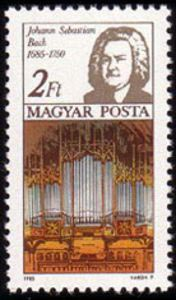 Johann Sebastian Bach and organ - Hungary, 1985 stamp (image)