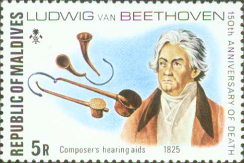 Beethoven with hearing aids, hearing trumpets (image)