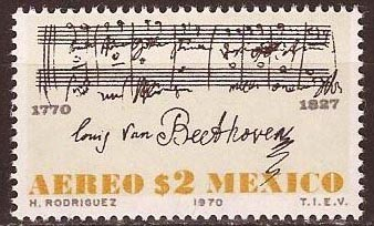 Beethoven's Ninth Symphony on 1970 stamp from Mexico (image)