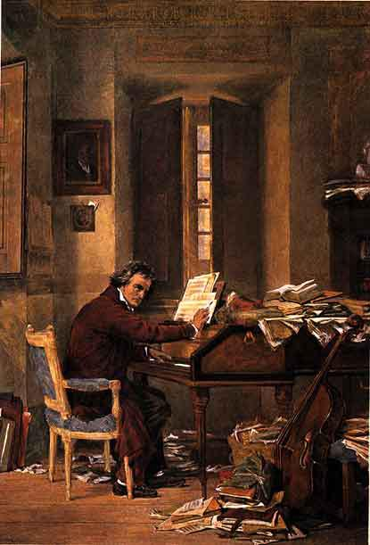 Beethoven composing in his study (image)