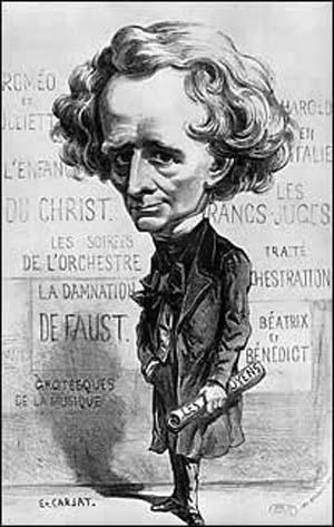 Hector Berlioz, an 1863 cartoon by Carjat (image)