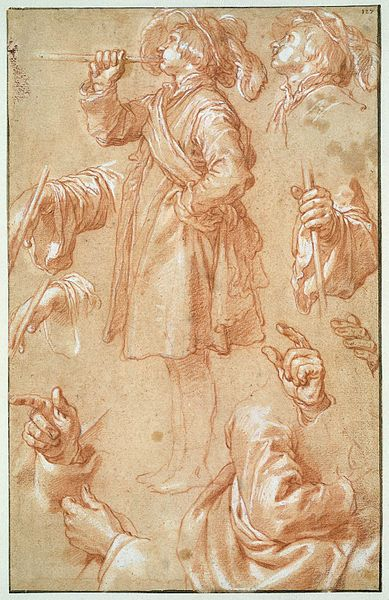 Studies of a Standing Trumpeter, Hands and Arms (Abraham Bloemaert) (image)