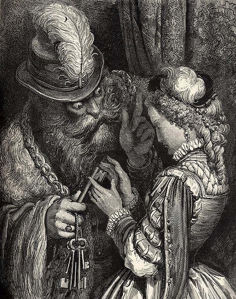 Bluebeard's Castle - woodcut by Gustave Dore (image)