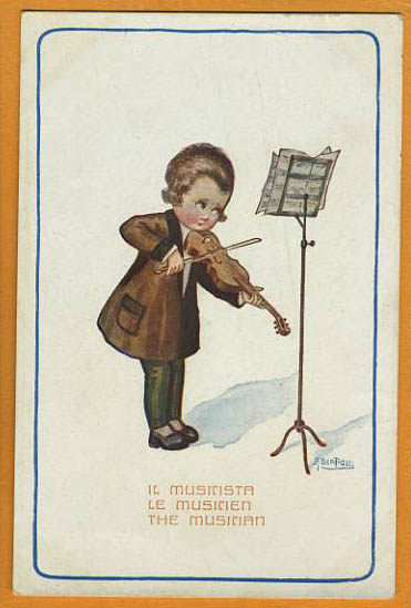 """The Musician"", a drawing of child with violin (image)"