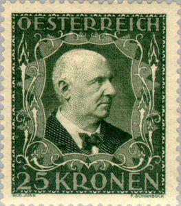 Anton Bruckner on Austrian postage stamp issued in 1922 (image)