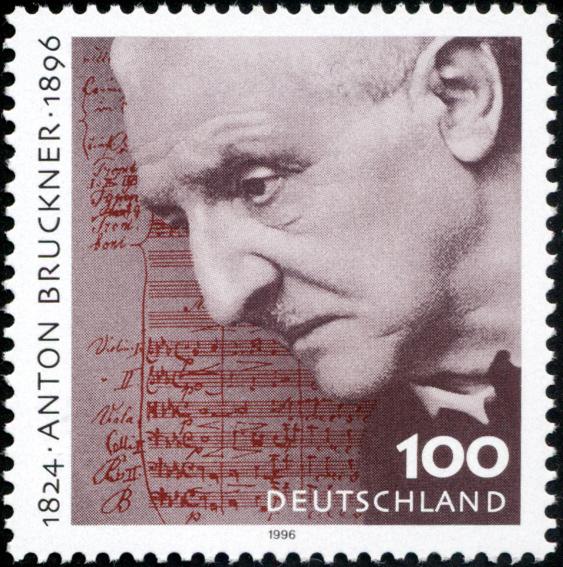 Anton Bruckner on a German postage stamp issued in 1996 (image)