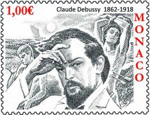 Claude Debussy postage stamp, Monaco, 2012 (image)