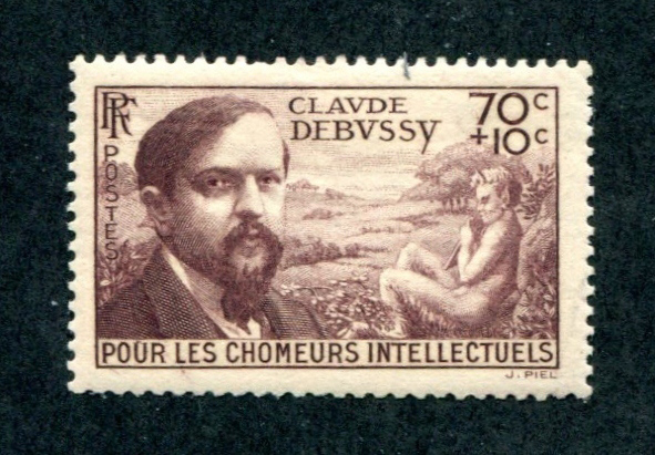 Claude Debussy postage stamp, France, 1939 (image)