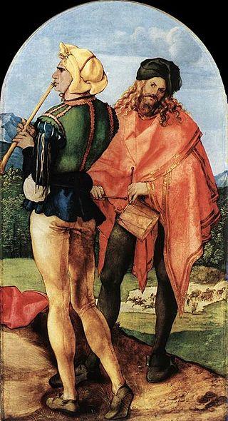 Piper and drummer, Jabach Altarpiece, Albrecht Dürer (image)