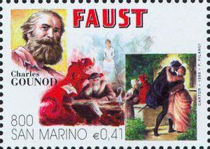 Gounod's opera, Faust, on 1999 San Marino stamp (image)