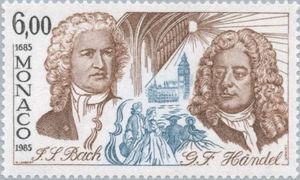 J S Bach and G F Handel on 1985 Monaco stamp (image)