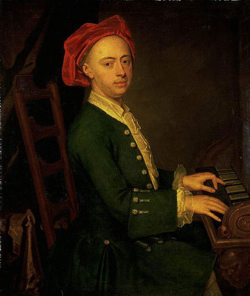 Handel at the piano, circa 1720 (image)