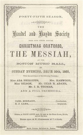 Poster for performance of Handel's Messiah, Boston, 1860 (image)