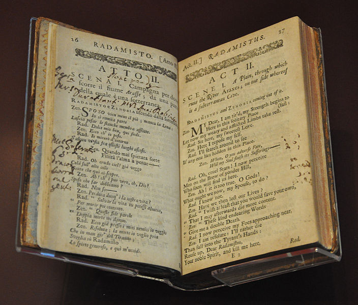 Prompt book for Handel's opera, Radamisto (image)