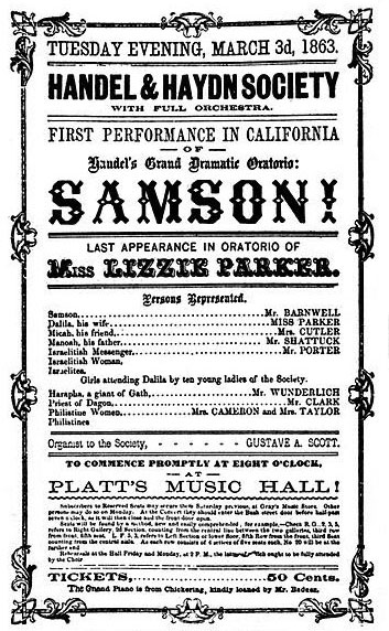Advert for Handel's oratorio, Samson, San Francisco, 1863 (image)