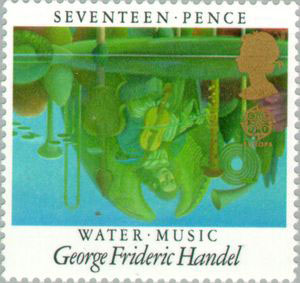 Handel's Water Music on 1985 UK stamp (image)