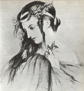 Harriet Smithson in the role of Ophelia in Shakespeare's Hamlet (image)