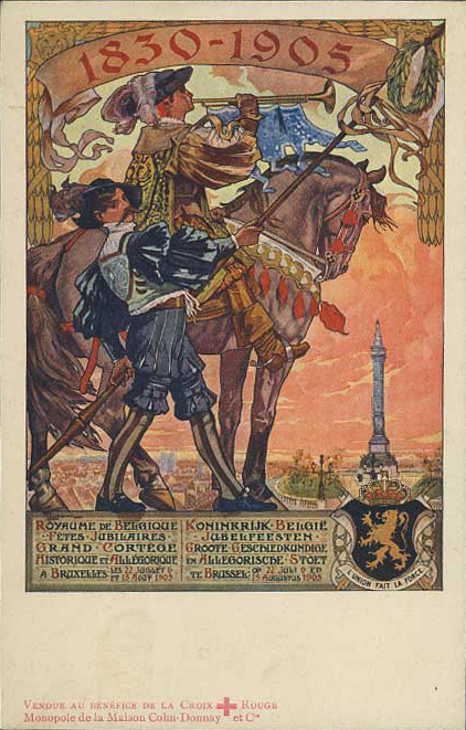 Messenger seated on horse blows a trumpet - 75th Anniversary of Belgian Independence (image)