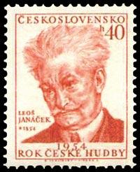 Janacek - postage stamp, Czechoslovakia, 1954 (image)