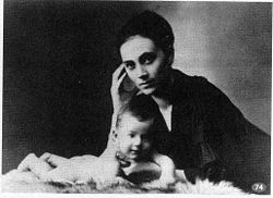 Kamila Stosslova and her son Otto in 1917 (image)