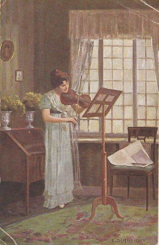 """Lady with a Violin"" - painting by E. Schneider (image)"