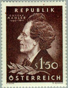 Gustav Mahler on 1960 Austrian postage stamp (image)