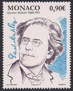 Gustav Mahler on postage stamp issued by Monaco in 2009 (image)