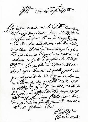 Claudio Monteverdi's letter to patron, 1567 (image)