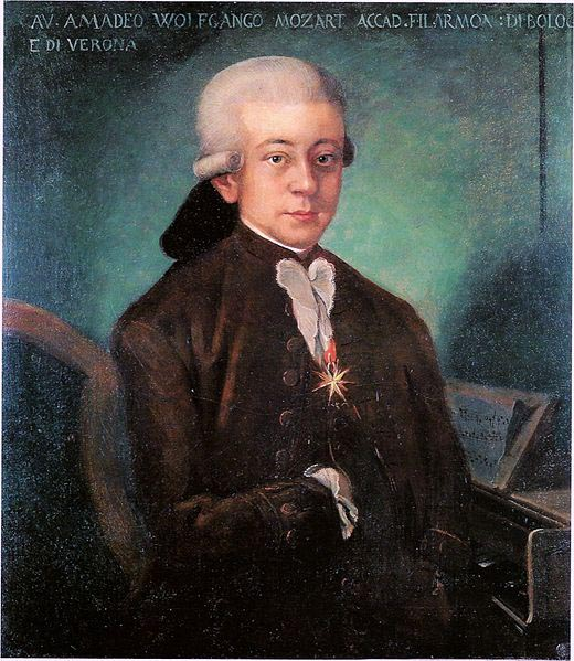 Mozart wearing Order of the Golden Spur, 1770 (image)