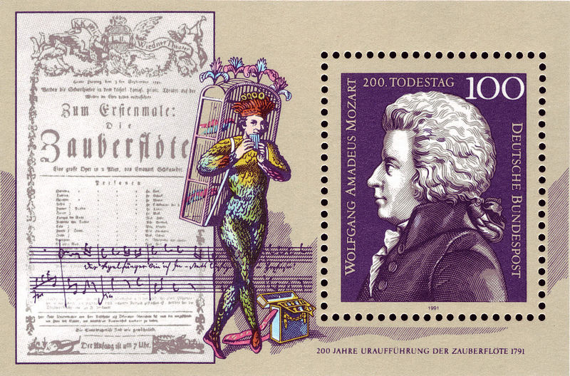 Mozart and The Magic Flute character, flyer and music excerpt (image)