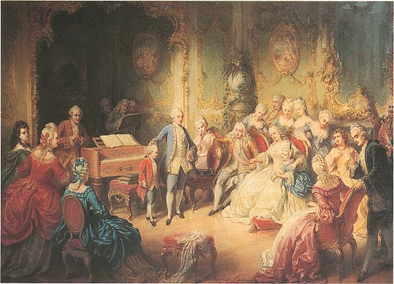Young Mozart being present to Empress Maria Theresa (image)